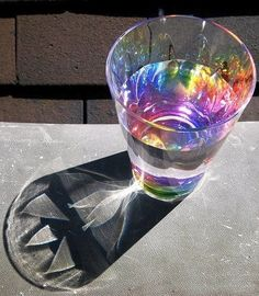 Colourless glass+water+sunshine=shadow art  totally trying this n the summer!