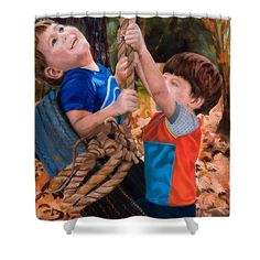 Boys Shower Curtain featuring the original oil painting They'll Be Tired By Marilyn Nolan-Johnson