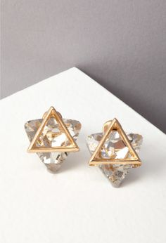 Triangle Cutout Rhinestone Earrings, add some sparkle to your life for only $3.90