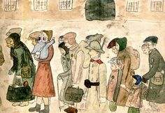 Through a child's eyes: Arriving at Terezin by artist Helga Weissova-Hoskova, (teenage Holocaust survivor) whose artwork is well known in the Czech Republic