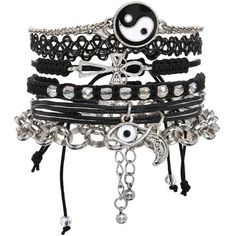 Bracelet pack by ASOS Collection 90's-inspired designs Cross and eye designs Stretch chains, friendship bracelets Silver-tone finish Multipack.