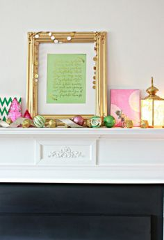 These are a few of my Favorite Things Mantel with free Printable in mint with gold lettering