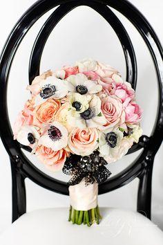 Chanel inspired Anemone Bouquet ~ Photographer: Visual Cravings // Floral Design: Rachel A Clingen Anemone Bouquet, Silk Flower Bouquets, Bridal Flowers, Wedding Bouquets, Anemones, Chanel Wedding, Mod Wedding, Wedding Shoot, Floral Wedding