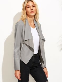 Online shopping for Grey Faux Leather Waterfall Jacket from a great selection of women's fashion clothing & more at MakeMeChic.COM.