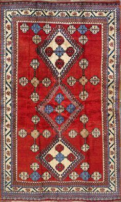 """Yalameh Persian Rug, Buy Handmade Yalameh Persian Rug 4' 1"""" x 7' 1"""", Authentic Persian Rug $518.50"""
