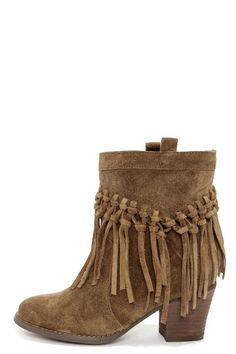 Khaki Suede Leather Fringe Boots ==