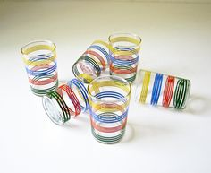 6 Vintage Juice Glasses - Colorful Stripes. $30.00, via Etsy.
