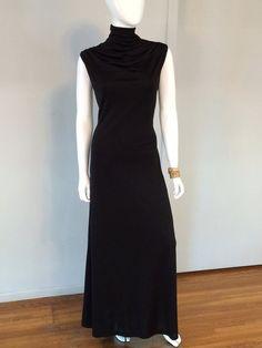 Vintage 1970's Black Dress. Sleeveless Gown.  Draped Cowl Neck