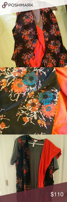 Lularoe Lovely outfit! New XL joy with orangy coral and blue flowers with gently used 2xl perfect T grey and only worn once orangy coral TC leggings. This outfit is so pretty! LuLaRoe Jackets & Coats Vests