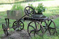 Steampunk Yard Art - My definition of steampunk art: adventurous spirit, steam power, gears, whimsical, inventive. A contraption of gadgets and gears all in a m…