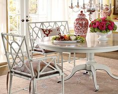 beachy coastal style dining room round table white bamboo furniture