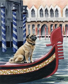 How cute is this!? PUG IN VENICE Dog Watercolor Art Print Signed by Artist D J Rogers.