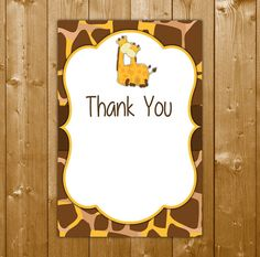 Giraffe Thank You Card, Baby Shower Neutral, Baby Shower Thanks, EL001C, Instant Download