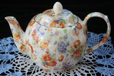 chintz tea pots | ERPHILA Chelesea Pattern Chintz Tea Pot 1900 to 1930 Czecho-slovakia ...