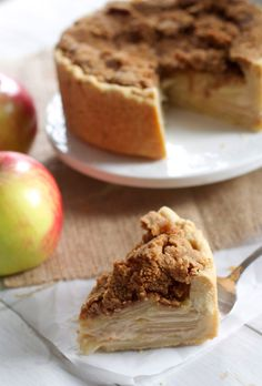 Deep Dish Sour Cream Apple Pie Recipe | the-baker-chick.com ~This recipe is baked in a spring form pan which makes the filling oh-so thick. If you're really in it for the apples, you will just love this. A super crispy topping adds a nice contrast, an the flaky, buttery crust houses everything just perfectly. The sour cream custard adds an amazing tartness to the whole thing too which I adore.