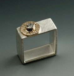 Custom Diamond Wedding Square Ring 14 karat gold and Sterling SIlver