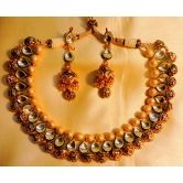 Designer Jaipuri Golden Balls Necklace