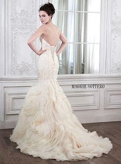 Dramatic and sophisticated is this mermaid wedding gown by Maggie Sottero... Meet Paulina. | Very different dress!