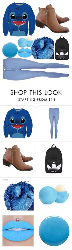 """BLUE!  BYE 2016! #2017#Blue#2016#Polyvore#JoinMyGroup#Bio#Boots#Jeans#Stitch#Lilo#Disney#eos"" by hashtagdoi ❤ liked on Polyvore featuring New Look, Topshop, Urban Decay, Eos and Lauren B. Beauty"