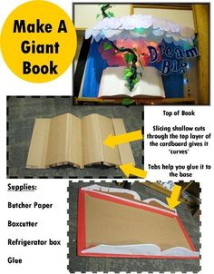 Make a Giant Book - bulletin board ideas by geneva. Where was this when we made bulletin boards? Bulletin Board Display, Classroom Bulletin Boards, Preschool Bulletin, Book Corner Classroom, Classroom Decor, Primary Classroom Displays, Year 1 Classroom, Physics Classroom, Decoration Creche