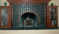 Clipped Corner Arch Fireplace by Tom Gerardy of Craftsman Revival #motawi