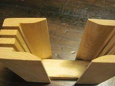 Vintage wood base bagel cutter 2