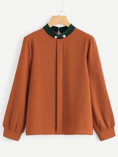 Women Classy Top Regular Fit Stand Collar Long Sleeve Contrast Collar Pearl Detail Blouse Source by daydaychic blouses Blouse Styles, Blouse Designs, Indian Blouse, Contrast Collar, Fall Shirts, Blouse Online, Curvy Fashion, Shirt Blouses, Blouses For Women