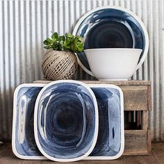 Stormy blue serving platters and salad bowl for a grey stormy day. #taradennis #maryandpeghome #kitchenware #servingtray #summer #ballarat  Yummery - best recipes. Follow Us! #kitchentools #kitchen