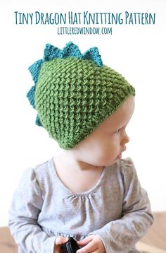 Tiny Dragon Hat KNITTING PATTERN - knit hat pattern for babies, infants - sizes 0-3 months, 6 months, 12 months, 2T+