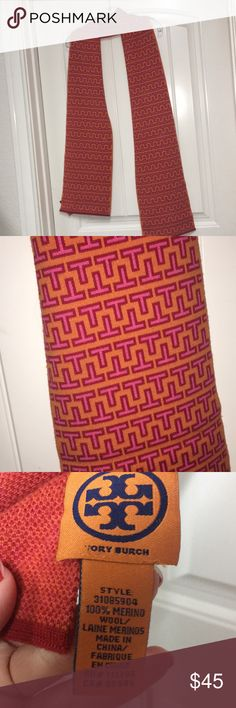 Tory Burch pink and orange scarf Oh my gosh so cute! Perfect pop of color this Winter. 100% Merino Wool and excellent condition. Tory Burch Accessories Scarves & Wraps