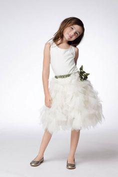Sleeveless natural waist with hand made flower tulle dress for flower girl