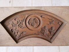 Japanese Antique Kashigata Kamon Turtle Crane Fan Design Hand Carved Wooden Mold   eBay