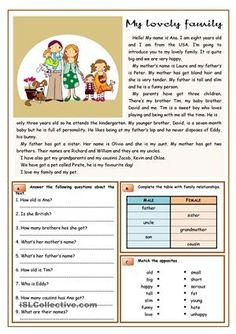 An elementary text about family and family members. I added multiple reading comprehension tasks. - ESL worksheets