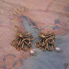 Antiqued Brass Octopus Earrings with Genuine Pearl Dangle $16.00 #Artfire #steampunk
