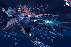 The night blue of the new Paris Saint-Germain home jersey features a new red band in the middle, created with chevrons and starting from the collar down to the bottom of the jersey. Nike Football, Football Cards, Rugby, Nike Presents, Pop Art Design, Graphic Design, Live Matches, Everton Fc, Soccer Match