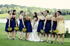 A blue and yellow Michigan Wedding . Photographer: Jackie of JACQART
