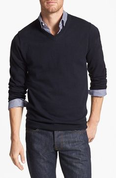 Wallin & Bros. Trim Fit V-Neck Cotton & Cashmere Sweater | Nordstrom - Love it, and it's cashmere!