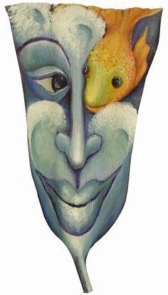 Peek-a-boo a fish for you !                                acrylic on palm frond                                              by Anna Skaradzinska