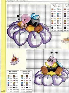 abeille sur une fleur (1) - toutes-les-grilles.com grilles gratuites point de croix crochet tricot amigurumi