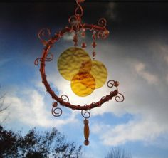 Harvest Moon, Home and Garden Decor, Amber Stained Glass Windchime, Mobile, Wall Hanging