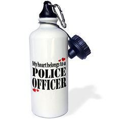 3dRose wb_157433_1 My heart belongs to a police officer Sports Water Bottle 21 oz White >>> Click image to review more details.