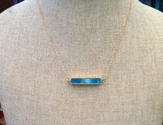 Turquoise bar necklace- 14 k Gold filled chain by ZYLCollections on Etsy