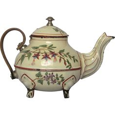 Exceptional - Mid-1800's Wooden Handle Enamelware Tea Pot - Floral from yesterdaysfrance on Ruby Lane