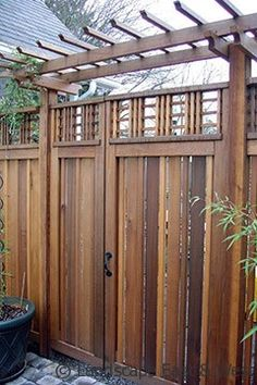 Asian-style Gate Wood Fence Design