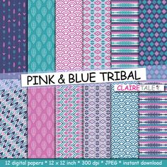 """Buy Tribal digital paper: """"PINK & BLUE TRIBAL"""" with tribal patterns and tribal backgrounds, arrows, feathers, leaves, chevrons in blue and pink by clairetale. Explore more products on http://clairetale.etsy.com"""