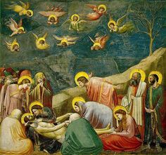 """GIOTTO: """"Lamentation"""" a frescoed panel from the Arena Chapel, Padua. 1305."""