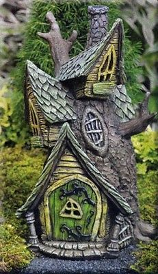 Miniature Fiddlehead Fairy Village Light Up Tree House Hobbit Garden | eBay