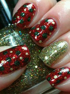 Red and green polka dot christmas nails