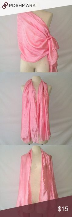 LARGE Silk Wrap Luxurious Rose Pink Silk Wrap Scarf Shawl. Made in India. Feels like 100% silk from India to the touch. Slight discoloration on one side, see last photo. In excellent used condition. From a smoke free home. Make an offer! BUNDLE & Automatically Get 20% Off on 2+ Items.  New Feature Alert: Bundle one or more items and I'll make you a customized awesome offer! Just bundle and wait for my offer... Up to 40% off - the bigger the bundle the bigger the savings! *2017 SUGGESTED…