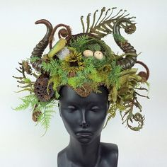 I  needed some green in my life.  The mama nature pieces are still some of my all time favorites!   This lovely lady will be in the shop at 12pm PST. www.etsy.com/shop/MissGDesignsShop  Horns by @markusmask  @missgdesigns #headdress #headpiece #horns #fauxhorns #veganfashion #veganfriendly #nature #mothernature #fairy #faery #nymph #woodlandcreature #crazyasshat #forest #woods #missgdesigns #mushrooms #birdnest